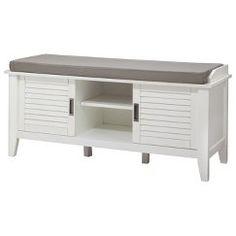 Threshold™ Storage Bench with Slatted Doors - White