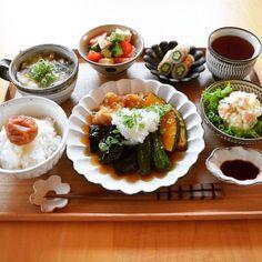 いいね!219件、コメント11件 ― hiroyoさん(@hiroyo.1229)のInstagramアカウント: 「*晩ごはん * ◇野菜と鶏肉の揚げ浸し ◇しめじと卵の中華スープ ◇オクラ豆腐トマトのサラダ ◇オクラinチクワ ◇ポテサラ * * 最近揚げ浸しにはまり中~ 茄子が美味しすぎる♡ * *…」