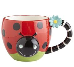 Pier one imports lady bug mug Ladybug Party, Ladybug House, Ladybug Picnic, Ladybug Crafts, Coffee Cups, Tea Cups, Color Me Mine, Table Runner And Placemats, Funny Coffee Mugs