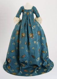 Silk: 1760-65; Dress: original c. 1760-65, altered late 1770-80    Artist/maker unknown, American and French    Silk tobine (cannelé) brocaded with colored silks  Center Back Length: 73 inches (185.4 cm) Waist: 25 inches (63.5 cm)