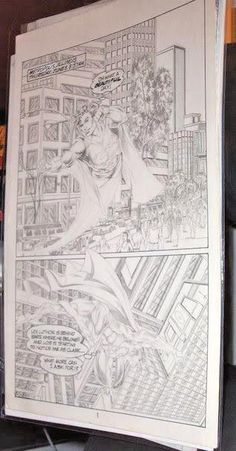 SUPERMAN Page of Comic art by a Pro nicely Penciled