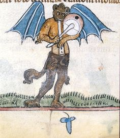 Demon plays the fife and drum, c. 1275-1325