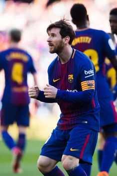 Lionel Messi of FC Barcelona celebrates after scoring his team's second goal during the La Liga match between Barcelona and Athletic Club at Camp Nou...