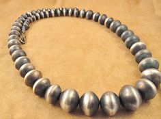 Andy Cadman Sterling Silver Handmade New Mexico Bead Navajo Necklace