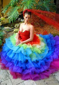 Queen Victoria Rainbow Wedding Dress