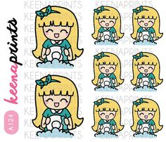 A124  WASHING the Dishes Keenari Emoticon by keenaprints on Etsy