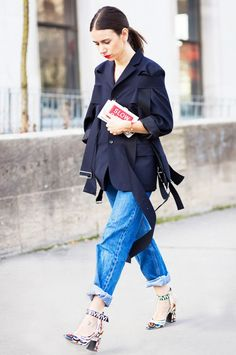 50 New Outfit Ideas You're Going to Freak Out Over via @WhoWhatWear /// On Natasha Goldberg: Comme des Garcons jacket; Louis Vuitton shoes.