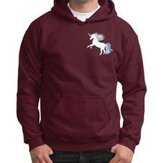 Unicorn White Gildan Hoodie (on man)