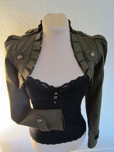 Military green steampunk short bolero Jacket by blackmirrordesign