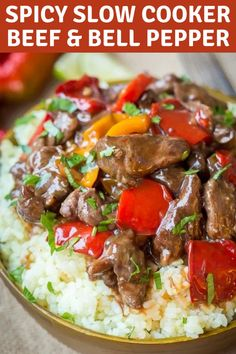 Spicy Slow Cooker Beef & Bell Pepper - CaSlow Cooker Spicy Beef & Bell Pepper - Clean, healthy and delicious, all in one! Doesn't get better than this! Crock Pot Slow Cooker, Crock Pot Cooking, Slow Cooker Recipes, Cooking Recipes, Beef In Slow Cooker, Cooking Beef, Beef Chuck Recipes, Crockpot Recipes, Healthy Recipes