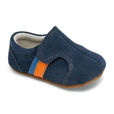 $40 BUY NOW    These blue suede shoes will be an instant hit with your baby. Instead of squeezing their fat feet into a too-small opening, the top flap opens extra-wide so you can get them on and off with ease, while the wide toe box gives chubby toes a little more wiggle room.