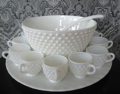 Vintage Fenton hobnail milk glass punch bowl