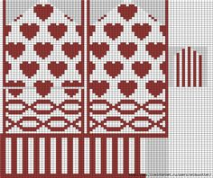Knitting With Karma: Valentine's Mitten - Free Pattern Knitting Charts, Knitting Stitches, Knitting Patterns Free, Baby Knitting, Stitch Patterns, Free Pattern, Free Knitting, Knitted Mittens Pattern, Crochet Mittens