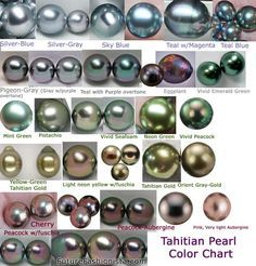 Tahitian Pearl color chart & everything pearls.