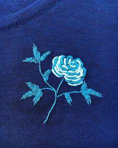 Rose l stitched on #tshirt #embroidery #needlework #modernembroidery #rose#bullionknots #dmcthreads #haft#bordado #flower