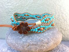 Double Wrap Turquoise Beaded Bracelet, Blue Wave Beaded Bracelet, Leather Wrap…