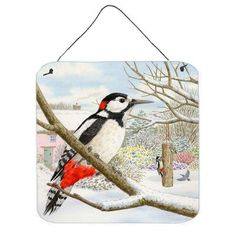 Caroline's Treasures Spotted Woodpecker by Sarah Adams Painting Print Plaque