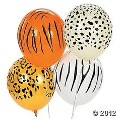 Latex Jungle Animal Print Balloons - Attach to Favor Bags