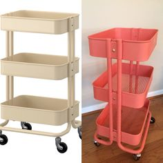 Before- beige cart from Ikea $29.99 After- Coral & Gold cart for dorm☺️ Appalachian State University
