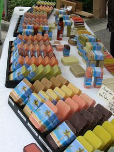 Monica's Cococastile Soap Display - This soap is so gorgeous and colorful it doesn't need a big, fancy display competing with it.  Love the way this soap maker kept the display simple to let her gorgeous soaps take center stage.