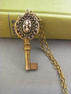 Antique Key Fleur de Lis Necklace
