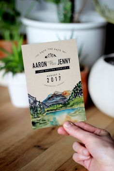 Rustic Watercolor Mountain Save The Date by WideEyesPaperCo on Etsy https://www.etsy.com/listing/281067708/rustic-watercolor-mountain-save-the-date