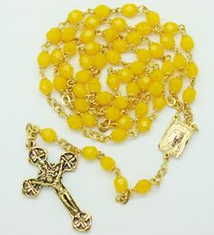 Milky Yellow Rosary  212C made by Amy. $65