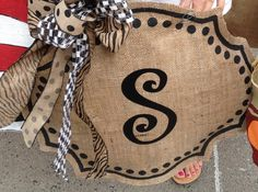Classy Monogrammed Initial Burlap Door Wall Hanger Cute Handpainted Wreath FREE SHIPPING by SayItWithSass, $45.00 USD