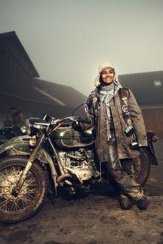 Elefantentreffen Is the Most Bizarre Motorcycle Rally You've Never Heard Of Ural Motorcycle, Motorcycle Rallies, Motorcycle Girls, L'art Du Portrait, Portraits, Lady Biker, Biker Girl, Biker Baby, Brat Cafe