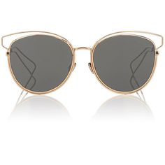 """Dior Women's \""""Dior Sideral2\"""" Sunglasses found on Polyvore featuring accessories, eyewear, sunglasses, gold, mirrored lens sunglasses, cat eye glasses, rounded cat eye sunglasses, see through sunglasses and round sunglasses"""