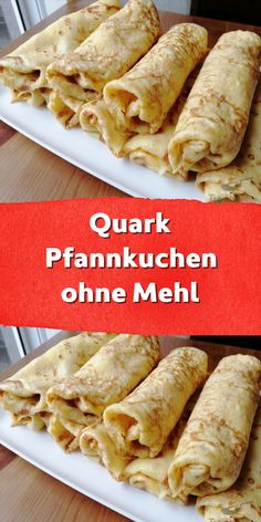 Quark pancakes without flour-Quark Pfannkuchen ohne Mehl I was not really convinced of this recipe, but I tried it and was pleasantly surprised. The pancakes were not sticky in the pan and could be rolled up easily. I have doubled the quantities. Quick Dessert Recipes, Easy Soup Recipes, Easy Cake Recipes, Healthy Dinner Recipes, Vegetarian Recipes, Budget Recipes, Easy Chocolate Desserts, Low Carb Desserts, Homemade Desserts