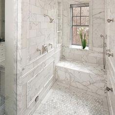 Calcutta Gold Marble Bathroom - Contemporary - bathroom - Oakley Home Builders Master Bathroom Shower, Gold Bathroom, Bathroom Floor Tiles, Bathroom Renos, Bathroom Interior, Modern Bathroom, Small Bathroom, Bathroom Cabinets, Bad Inspiration