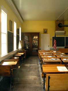 Sacramento, old town schoolhouse classroom....I love those old desks, some with inkwell holes in them.