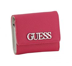 Wallet Guess Uptown Chic SLG Fuchsia Pink Logo Slg, Card Case, Zip Around Wallet, Pink, Chic, Cards, Dusty Pink, Pocket Wallet, Script Logo