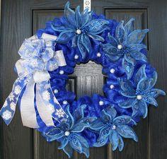 Blue and Silver Poinsettia Mesh Christmas Wreath
