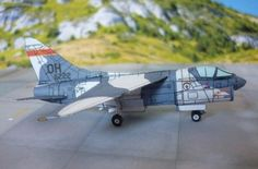 This aircraft paper model is a 162nd TFS 178th TFG version LTV A-7D Corsair II, the Ling-Temco-Vought A-7 Corsair II, which was a carrier-capable subsonic