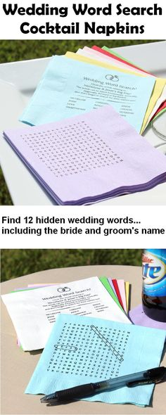 Serve drinks and appetizers during your wedding reception cocktail hour with personalized wedding word search cocktail napkins to entertain guests as they wait for the party to start. These unique napkins feature a word search puzzle with twelve wedding-related words including the bride and groom's name on the front and a wedding rings design and hidden words list on the back. These napkins can be ordered at…