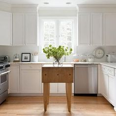 Folding Butcher Block Kitchen Island, Country, kitchen, Benjamin Moore China White, Kelly Mcguill Home