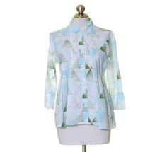 Calvin Klein Jeans White Green Blue Print Button Front Cotton Shirt Size M #CalvinKleinJeans #ButtonDownShirt #Casual