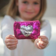 Giggle Me Pink - Sequin Heart Coin Purse Building For Kids, Pink Sequin, Kids Store, Purses And Bags, Little Girls, Coin Purse, Sparkle, Sequins