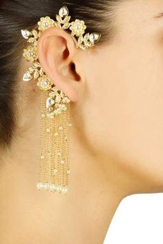 Gold-finish-kundan-stone-earcuff-with-chain-danglers