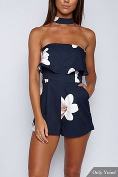 Navy Sexy Strapless Random Floral Print Choker Playsuit  Check out our amazing collection of plus size dresses at http://wholesaleplussize.clothing/