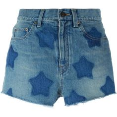 Saint Laurent Stars Printed Denim Shorts (490 CAD) ❤ liked on Polyvore featuring shorts, bottoms, short, blue, jean shorts, blue short shorts, yves saint laurent, short shorts and blue star shorts