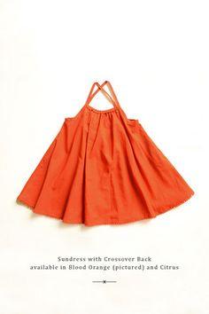 Rapscallion - Organic Cotton - Sundress with Crossover Back - Blood Orange or Citrus