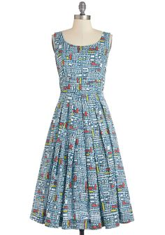 Fun and Video Games Dress in Geometric by Emily and Fin - Multi, Print, Casual, A-line, Sleeveless, Better, International Designer, Cotton, Woven, Long, Pleats, Pockets, Scoop