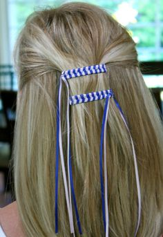 braided ribbon barrettes - wow, flashback to my childhood. Had a ton of these. These were so much fun to make! Ribbon Barrettes, Hair Barrettes, Hair Bows, Hair Clips, Ribbon Hair, My Childhood Memories, Great Memories, Childhood Toys, Childhood Friends