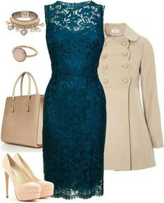 Make heads turn in a Teal Lace cocktail dress at the next fundraiser dinner
