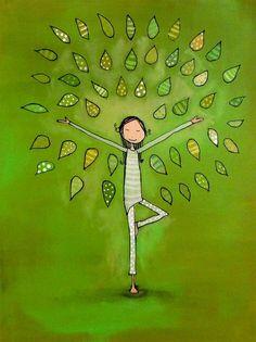 Boldogság, fa jóga pózban. A világ is átváltozik,  bennünk van az erő, egészség.