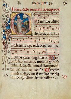 """Initial C:  The Creation of the World.  MS. 24, LEAF 5 Artist unknown, Italian, circa 1420, tempera colors, gold leaf, and ink on parchment.  18-5/16"""" x 13-5/8"""" From: CEREBRAL BOINKFEST: A Marriage of Painting, Writing, and Music: Illuminated Choir Manuscripts"""