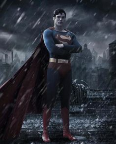 Fan Made image of the new Batman v Superman poster with Christopher Reeve's renowned potrayal of Superman.